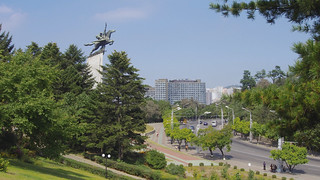 Image of  Chollima Statue. travel vacation holiday bus monument landscape scenery asia cityscape tour korea northkorea pyongyang dprk youngpioneertours