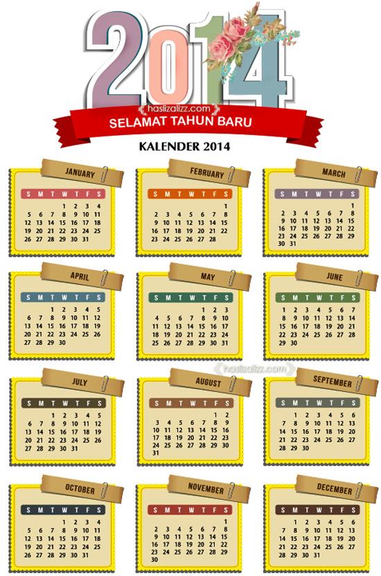 Kalender tahun 2014 | kalendar 2014