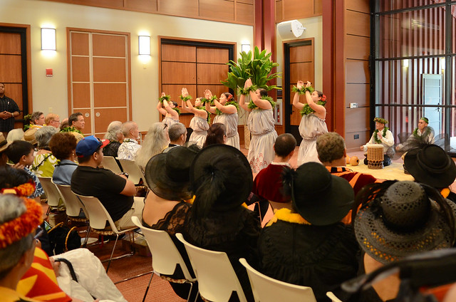 <p>Ka Haka ʻUla O Keʻelikōlani's students performing at the grand opening of Hale'ōlelo, the new home of the UH Hilo's Ka Haka 'Ula O Ke'elikōlani College of Hawaiian Language.</p>