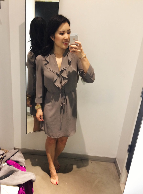 cute & little blog | h&m taupe chiffon dress