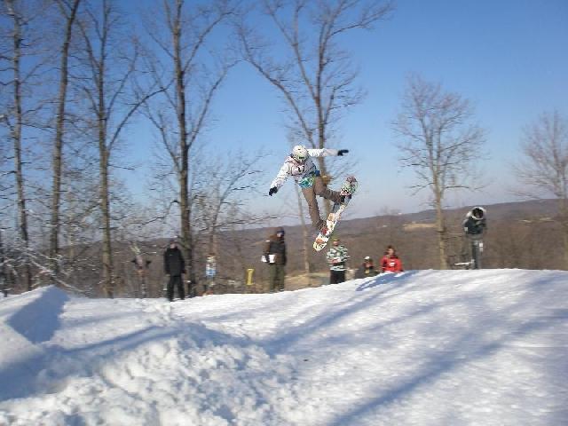 Snowboarder at Hidden Valley, Mo.