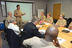 U.S. Pacific Fleet Master Chief Marco Ramirez speaks with senior leaders during a Senior Enlisted Leadership Training Symposium, March 19. (U.S. Navy/MC1 Amanda Dunford)