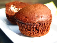 cocoa muffin with cheese filling