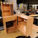 Beech tiered corner PC desk