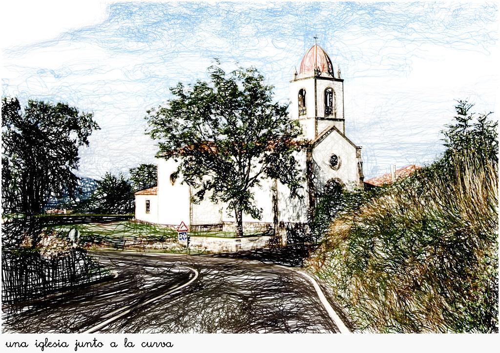 iglesia junto a la curva