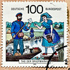 beautiful stamp Germany 100Pf (postman in Spreewald wetland terrain; Briefträger im Spreewald; about 1890) poste timbres Allemagne sellos Alemanha selos porto franco francobolli Germany postzegel 우표 독일 유럽 sellos Alemania selos Alemanha γραμματόσημα 100pf. by stampolina