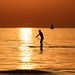paddling on the SUP in a golden sea - Tel-Aviv beach by Lior. L