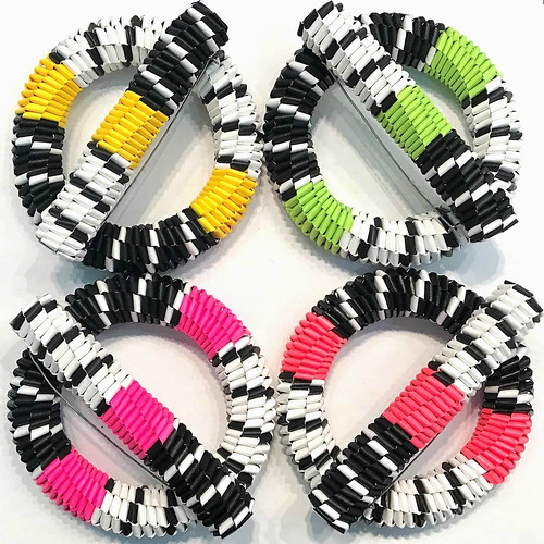 Neon Woven Paper Brooches
