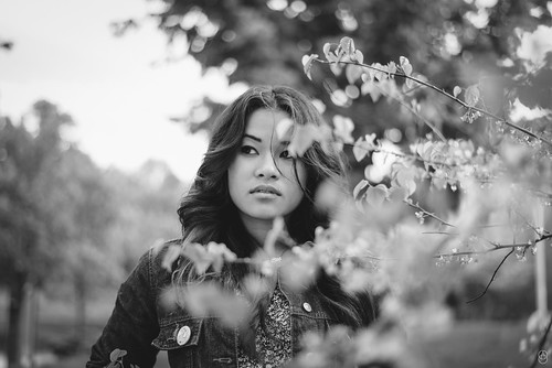 flowers portrait flower art beautiful hair asian photography 50mm model eyes nikon cambodia dof bokeh branches curls beaty lips depthoffield jacket button nikkor oke solinda omolade artistsontumblr photographersontumblr omoladeoke