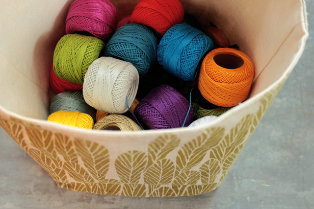 Bookhou basket with embroidery thread
