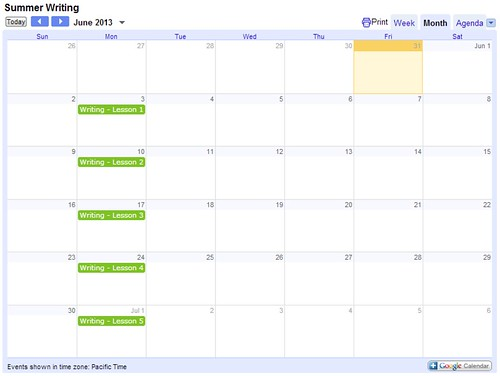 Summer Writing Calendar 1