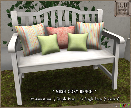 PROMO ! *RnB* Mesh Cozy Bench 1-2 - Couple & Singles (2 avs)