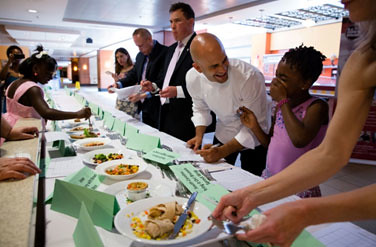 Judges, including Sam Kass, Executive Director of Let's Move! (second from right), and Robert Post, Associate Executive Director, USDA Center for Nutrition Policy and Promotion (fourth from right), score lunch recipes submitted by kids from around the country. Winning recipes were served at the White House for the Kids' State Dinner on July 9, 2013. (Official White House Photo by Chuck Kennedy)