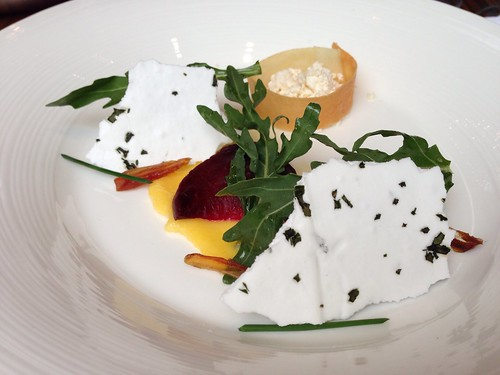 Baked Red Beet Root. Ricotta wrapped in Feuille Brick Tarragon & Chive Meringue with Arugula, California Dates & Sea Salt