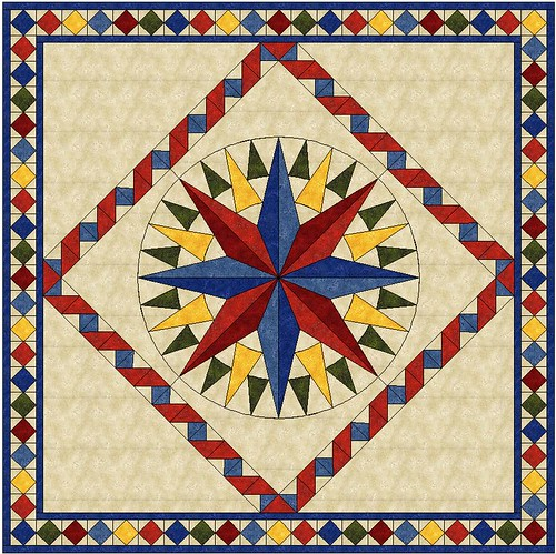 Mariner's Compass Quilt Top