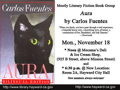 Mostly Literary Fiction Book Group discusses Aura by Carlos Fuentes - November 18, 2013