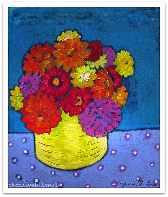 zinnias painting by Regina Lord