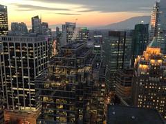 Sunset over English Bay, Vancouver City lights