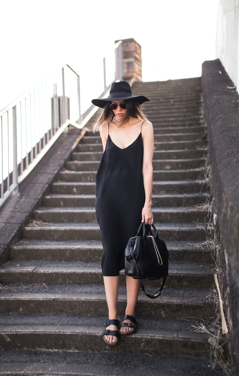 modern legacy fashion blog ysl hat wide brim topshop silk cami slip dress street style inspo details monochrome trend vera xane black white birkenstock (1 of 9)