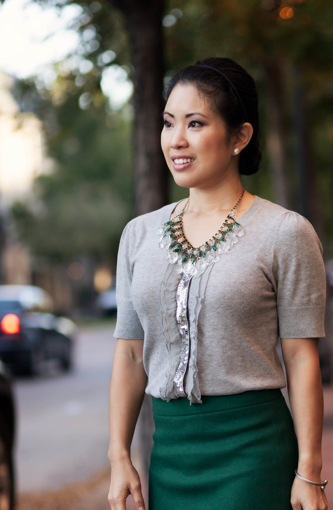 cute & little blog | silver sequin top, green pencil skirt, red pumps, lv speedy 25, outfit #ootd, petite fashion