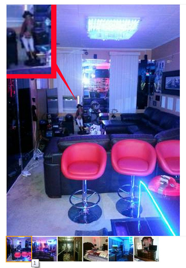 Living Room with neon and bar stools