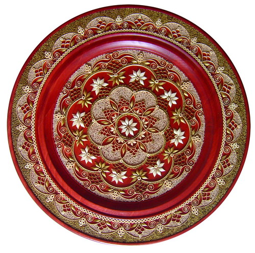 circular inlaid wood shaving art