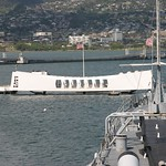 Arizona memorial as seen from USS Missouri, Oahu