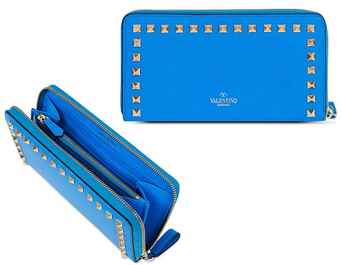 Valentino peacock Blue rock stud wallet