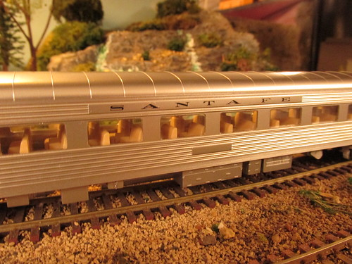 A 1940's era Atchison, Topeka & Santa Fe Railroad streamliner passenger car up close.  The Oak Park Society of Model Engineers,H.O Scale Model Railroad Club.  Oak Park Illinois.  Late January 2014. by Eddie from Chicago