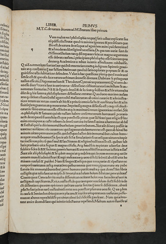 Opening of Part I of  Cicero, Marcus Tullius: De natura deorum etc