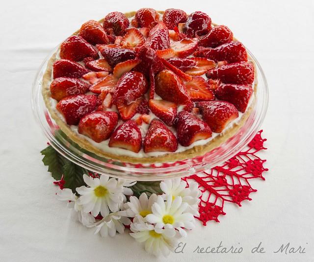 tarta de requeson y fresas