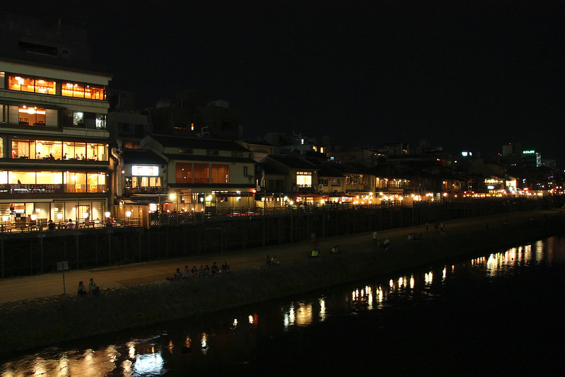 nightlife along the riverside in kyoto