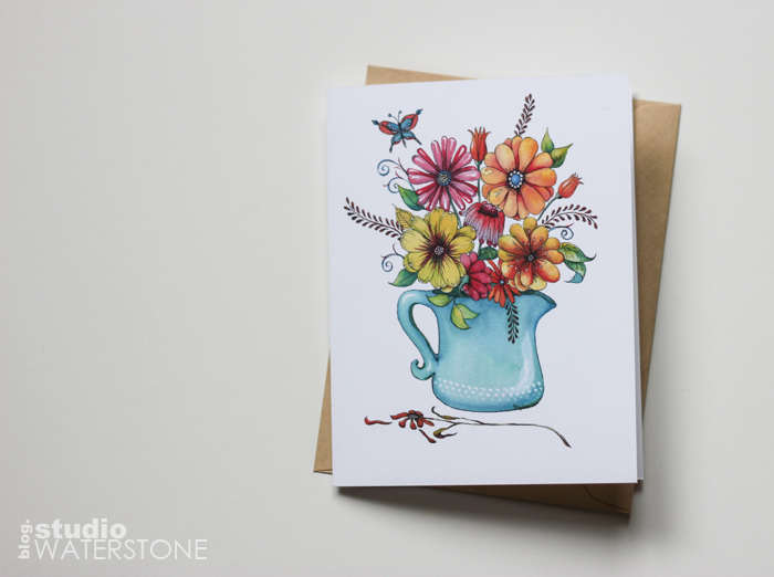 Floral with Turquoise Vase Greeting Card