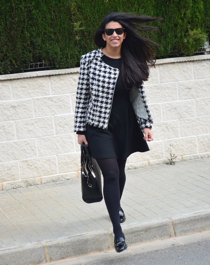 florenciablog tweedjacket estampado pata de gallo little black dress LBD mocasines zara (12)