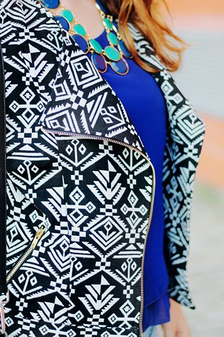 Outfit, Tribal print jacket, Poppy Lux, Primark blue bead blouse, Persunmall black bag, Happiness Boutique necklace, Lanidor jeans, Primark black heels, Mirabella LaLa Lips