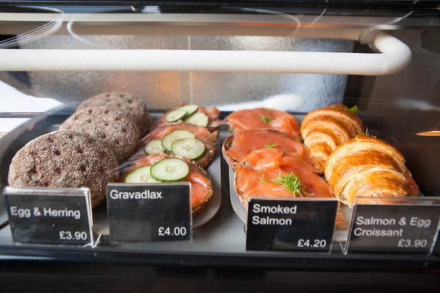 Egg & Herring, Gravlax, Smoked Salmon, Salmon & Egg Croissant sandwiches