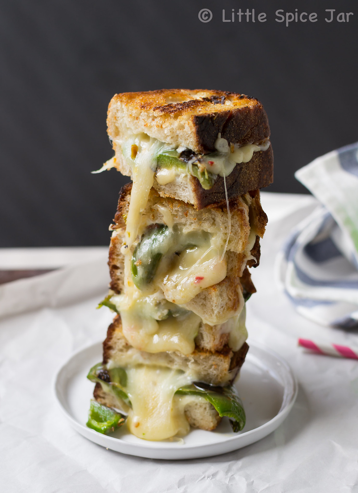 Garlic and Jalapeno Pepper Jack Grilled Cheese Sandwich Tower 5