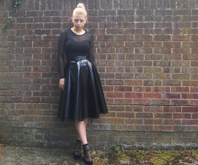 Sam Muses, UK Fashion Blog, London Style Blogger, SS14, H&M, Polka Dot, Mesh, Long Sleeved, Bandeau, Patent, Vinyl, PVC, Crackle, Primark, Midi Skirt, Socks, Spotty, How to Wear, Styling Ideas