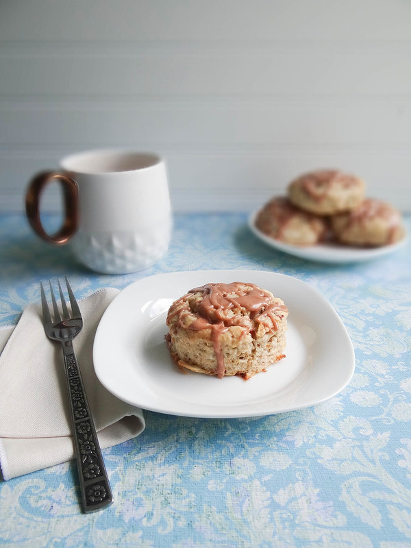 coconut oat scones // maple cinnamon glaze