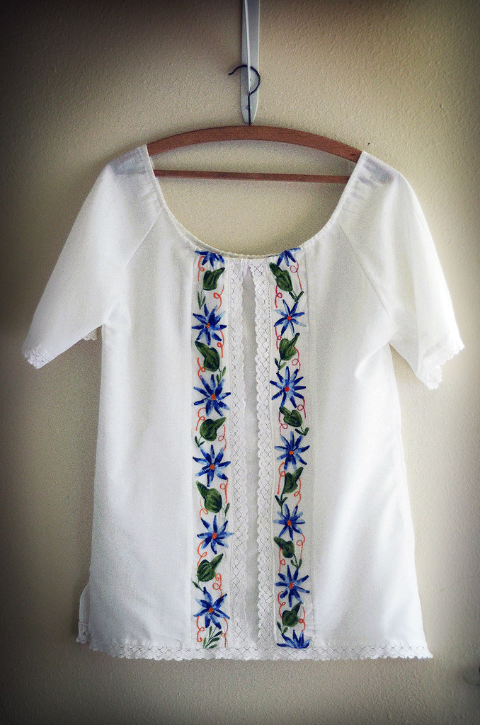 Vintage Large Mexican White Shirt with Blue Embroidery and Lace