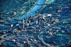 Aerial view of the Mississippi River and downtown Saint Paul, Minnesota, U.S.A.