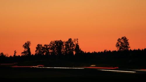Abendrot und rote Bremslichter - Sunset and red break lights