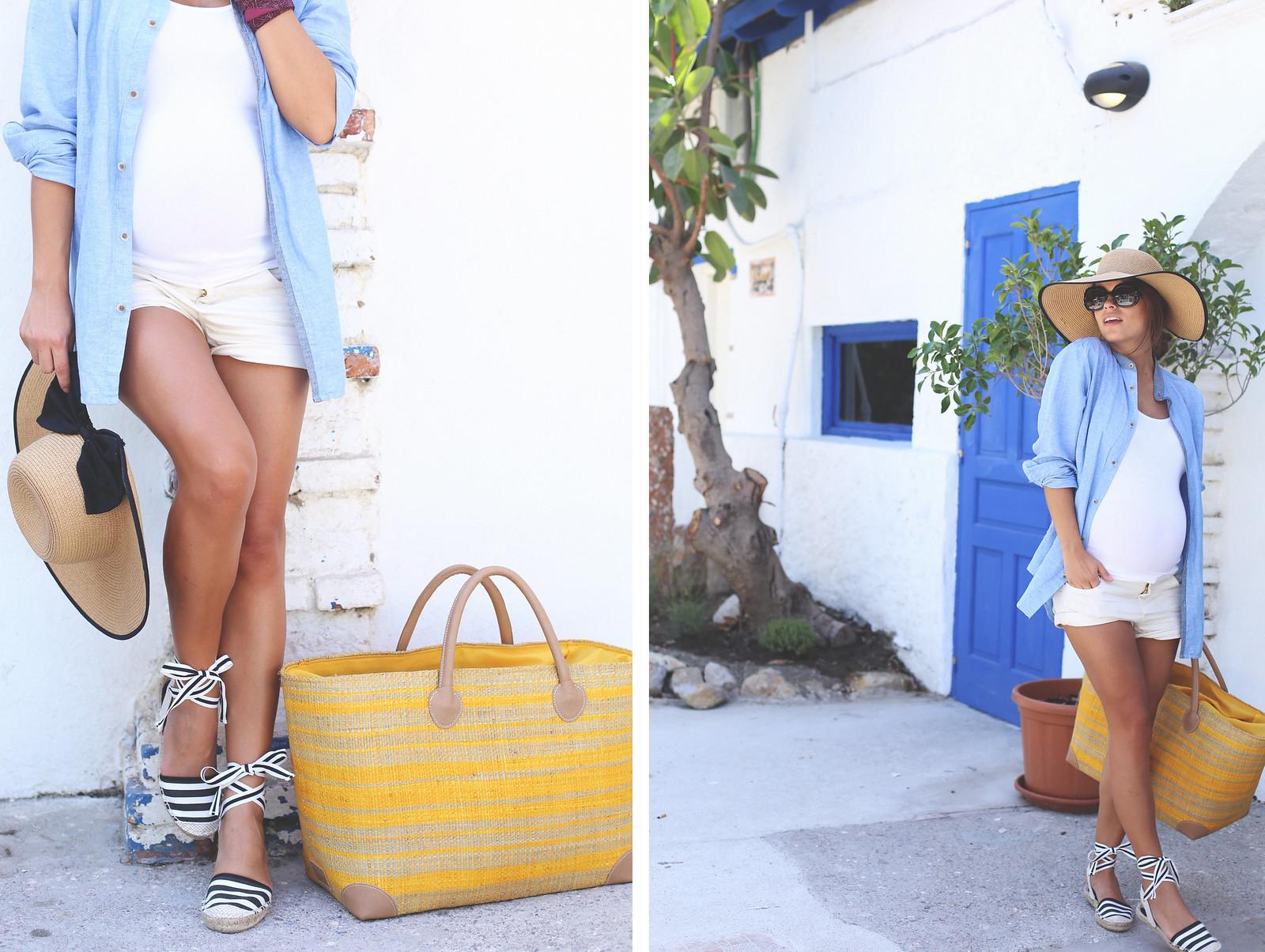 1. stripped espadrilles beach bag abbacino madagascar - jessie chanes - pregnancy