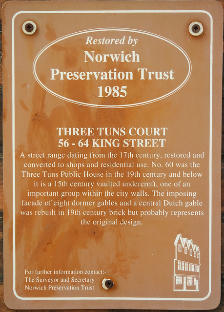 Photo of Three Tuns, Norwich brown plaque