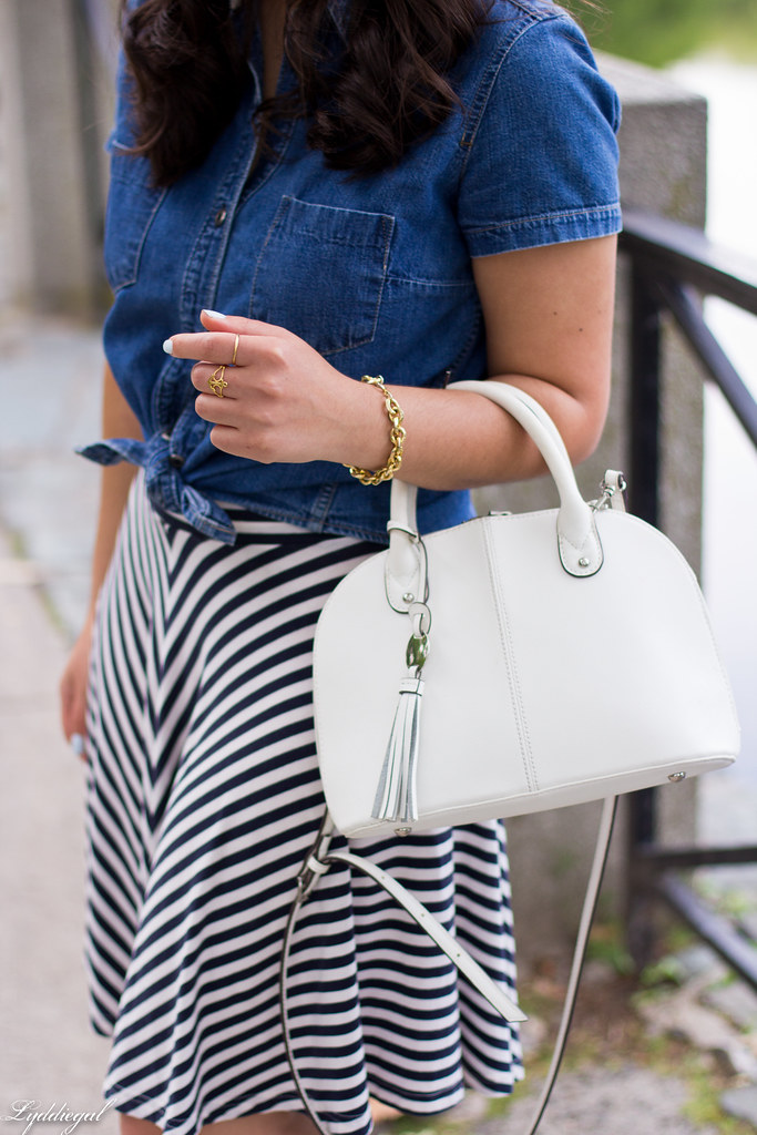 chambray shirt, striped skirt, white sandals-7.jpg
