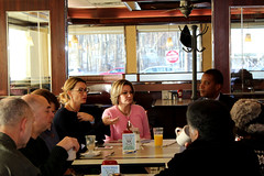 House GOP Leader Themis Klarides joined Sen. George Logan and Reps. Nicole Klarides-Ditria and Linda Gentile for office hours in Derby. The delegation holds monthly coffee hours at the Valley Diner to talk to constituents.