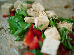 Marinated tofu, fresh basil, red pepper, and sesam…