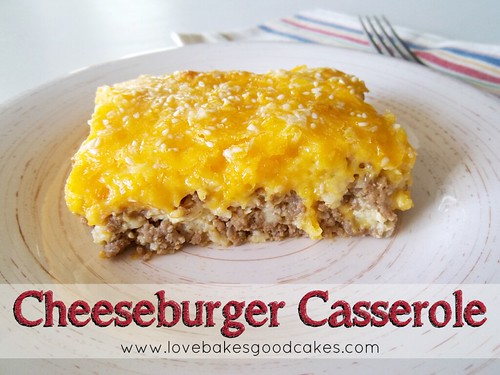 Cheeseburger Casserole and fork on plate.