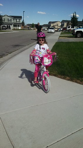 Bike riding girl.
