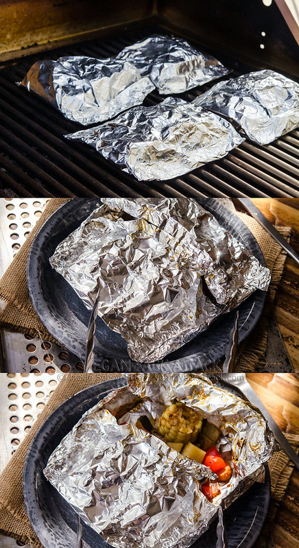 image collage of foil packets being grilled